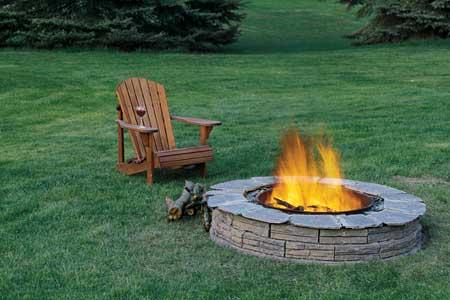 Backyard Fire Pits - on the lawn